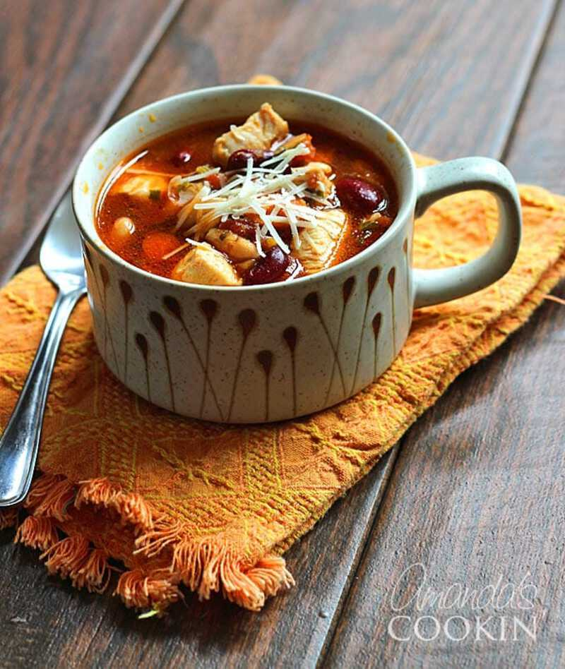 Chicken and bean soup in mug