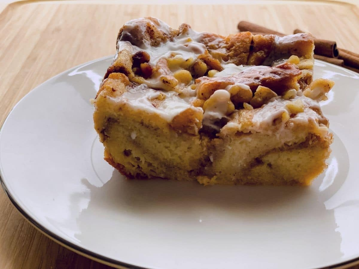 Bread pudding on white plate