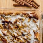 French toast bread pudding in baking dish