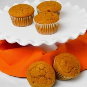 Pumpkin muffins on platter