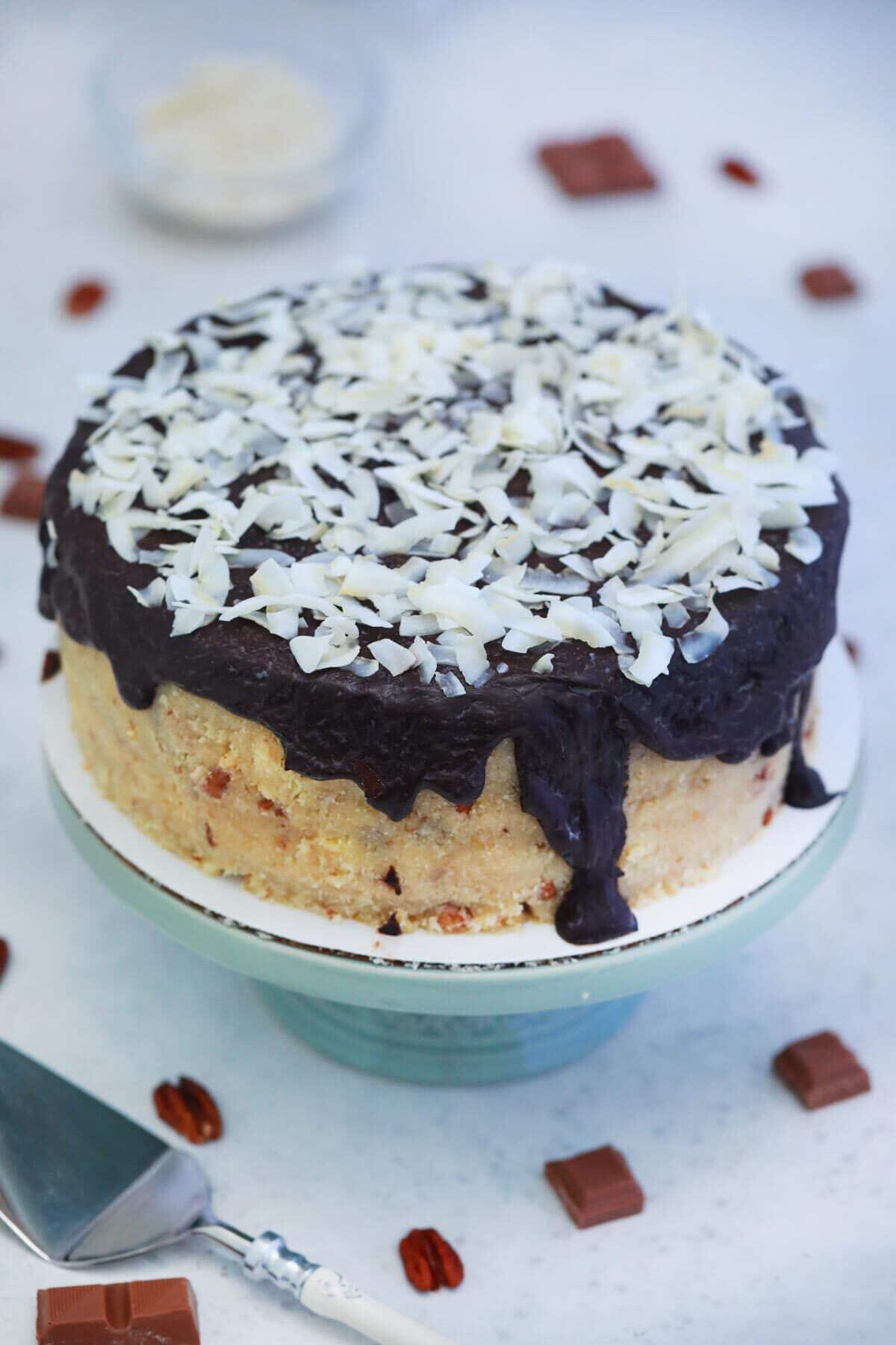 German chocolate cake on stand
