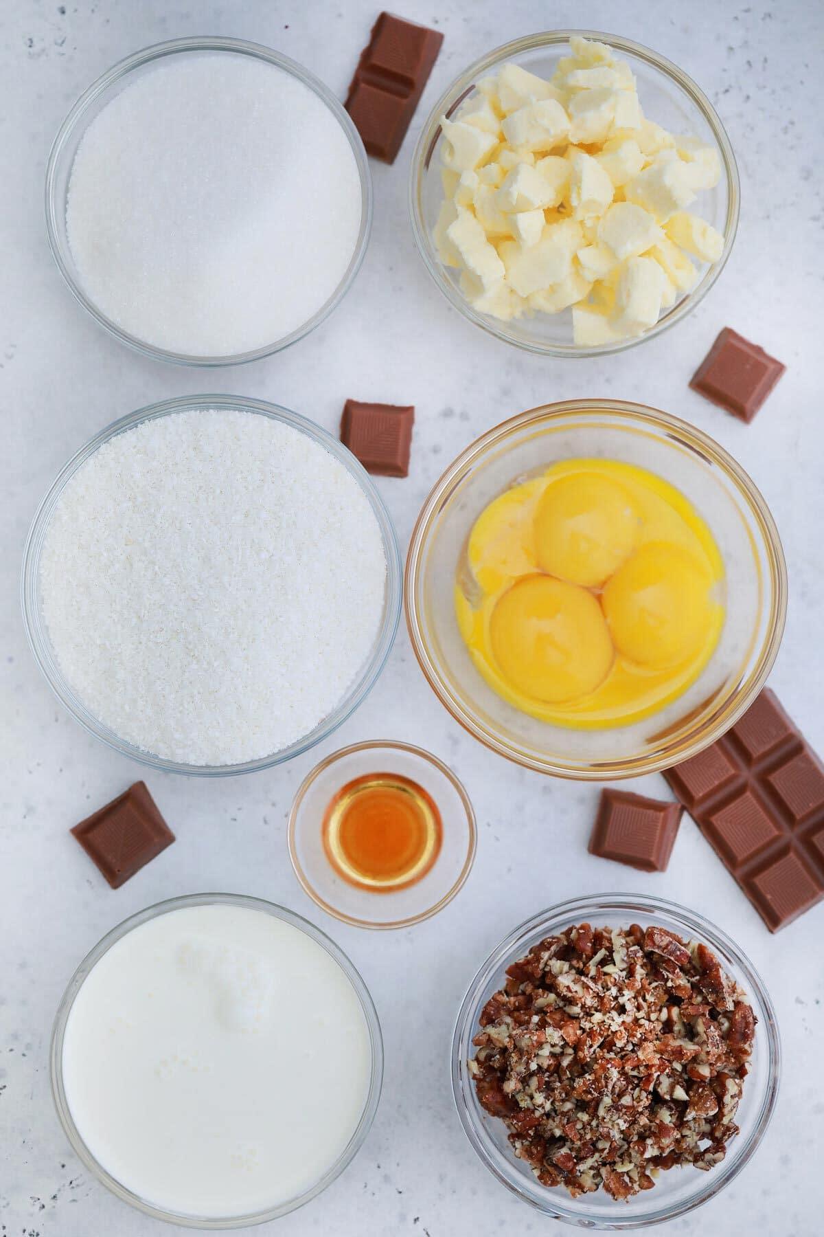 Ingredients for coconut pecan frosting