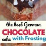Slice of german chocolate cake on plate