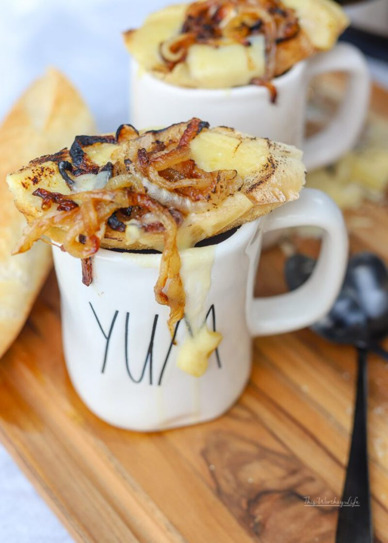 French onion soup in mug