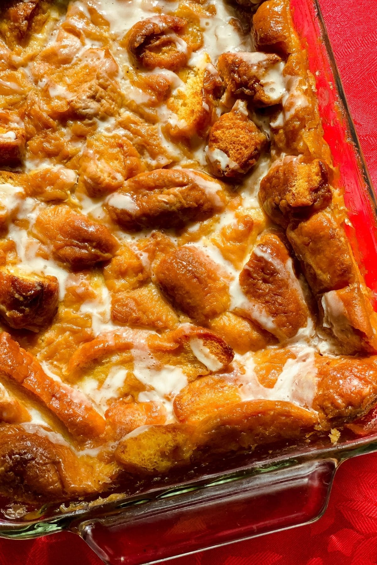 Krispy Kreme donut bread pudding in baking dish