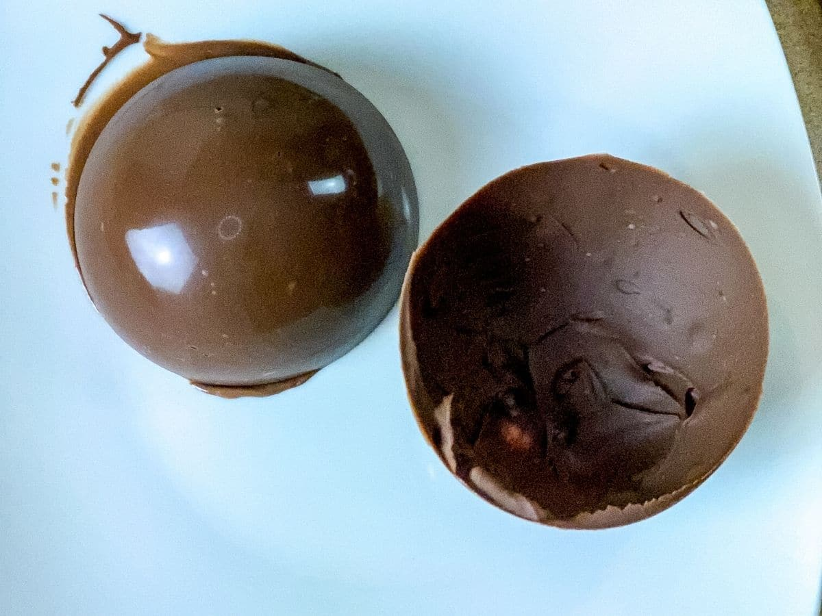 Chocolate spheres on paper