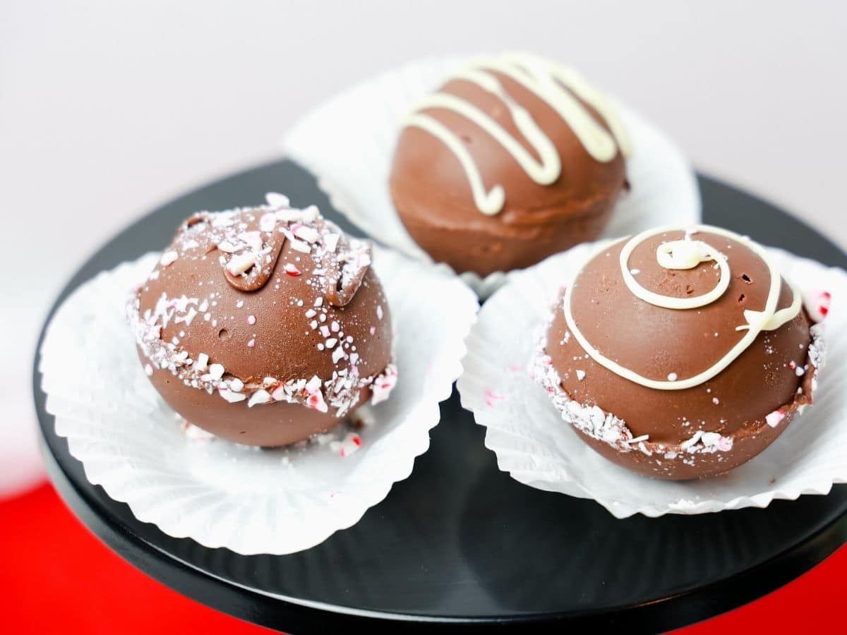 Hot chocolate bombs on platter