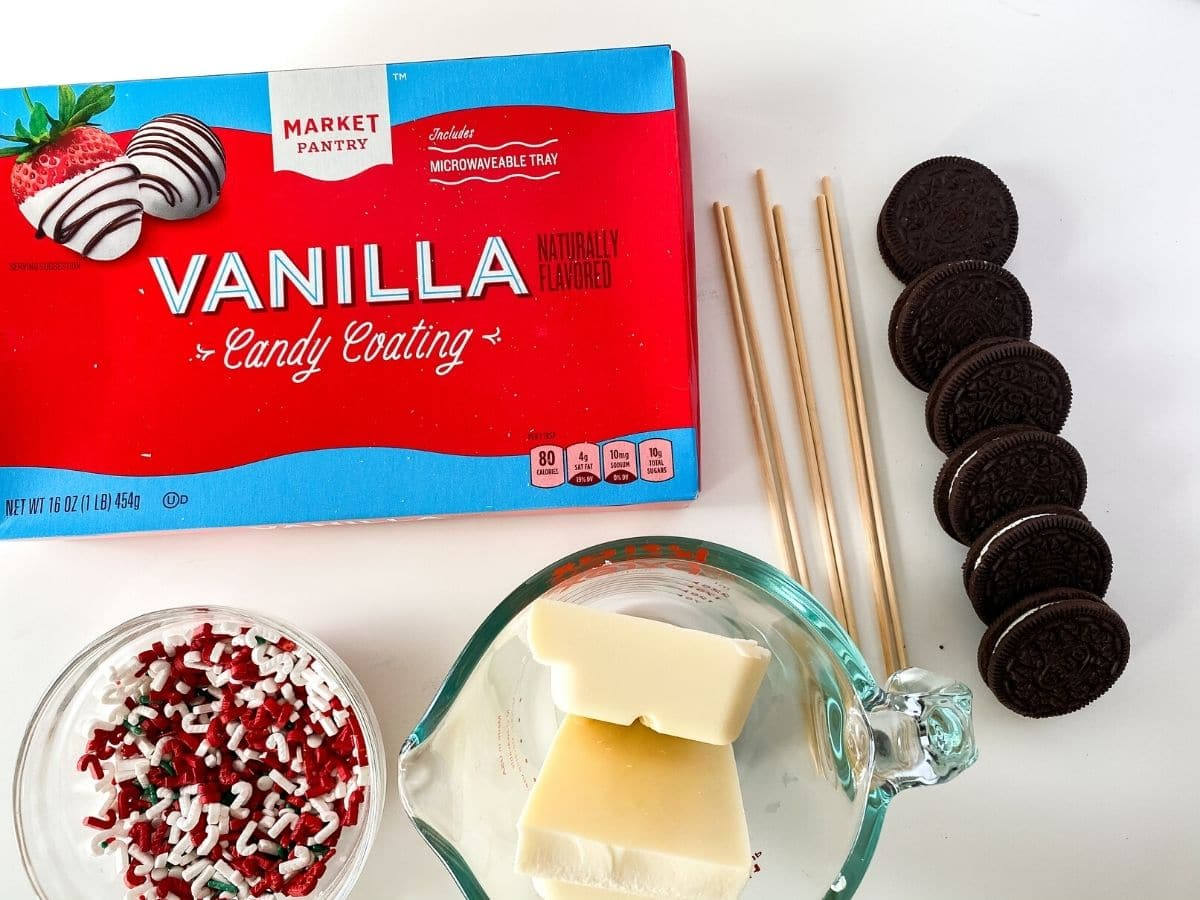 Ingredients for dipped oreo cookies