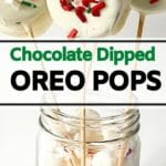 Dipped Oreo pops standing in glass
