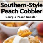 Peach cobbler collage
