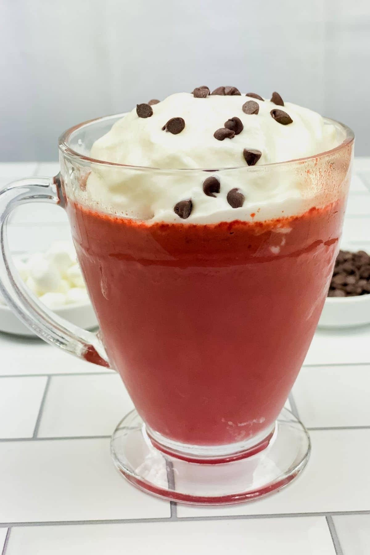 Red velvet hot chocolate in clear mug