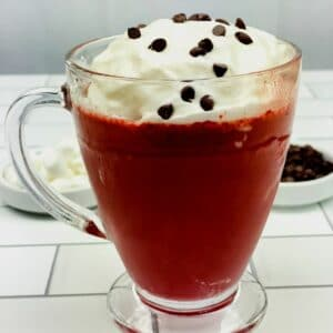 Red velvet hot chocolate in clear mug