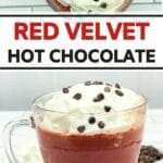 Red velvet hot chocolate collage