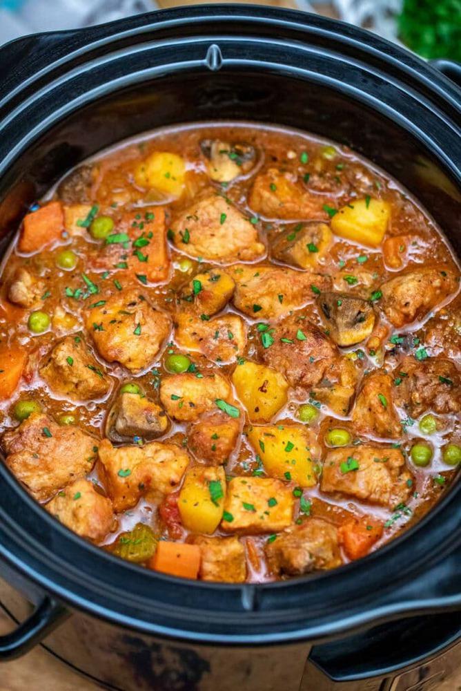 Pork stew in crockpot