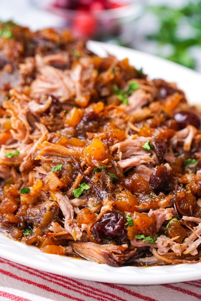 Pork with cranberry and pineapple sauce