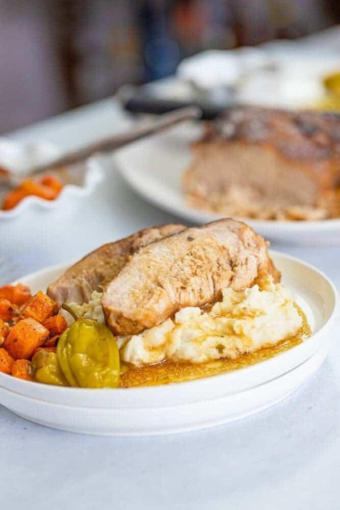 Pork on plate with gravy