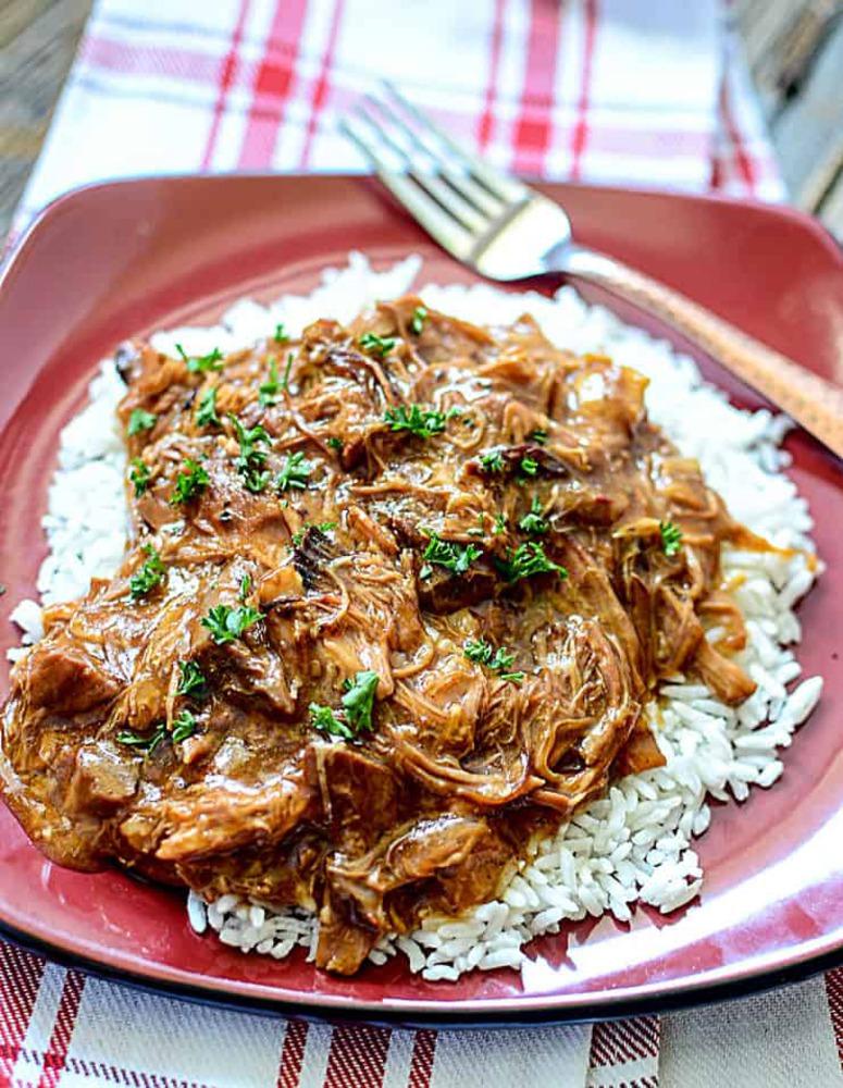 Shreddd pork on rice