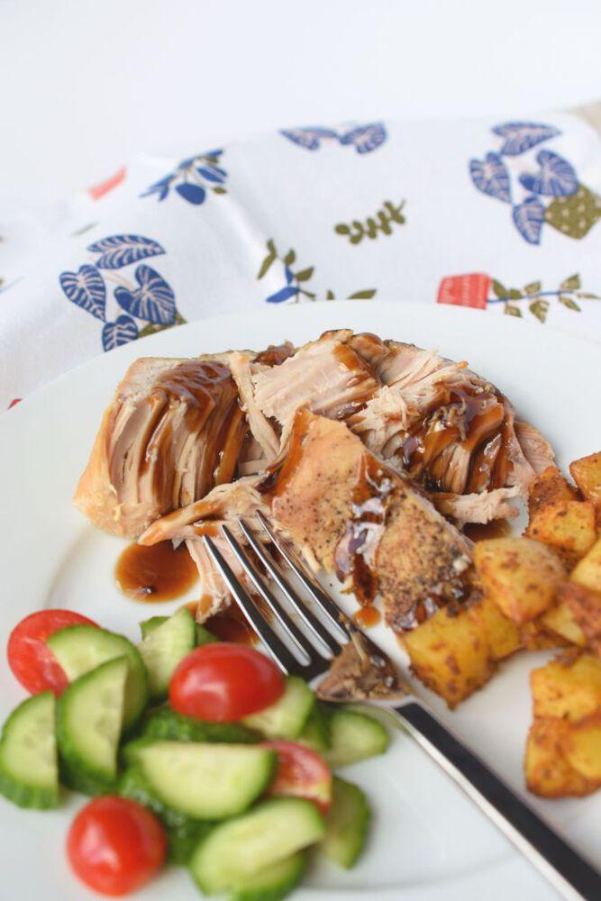 Pork on plate with veggies