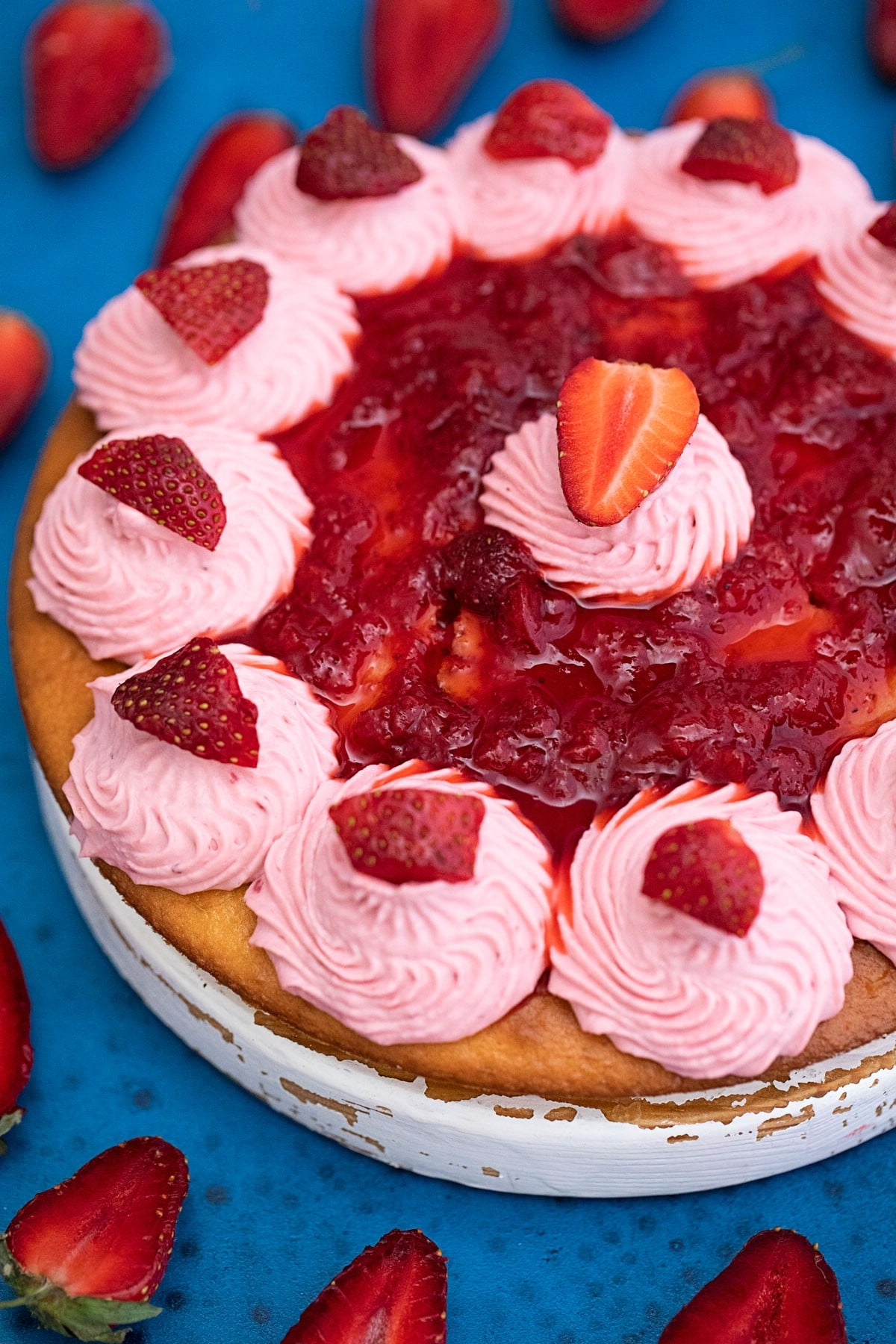 Decorated strawberry cake
