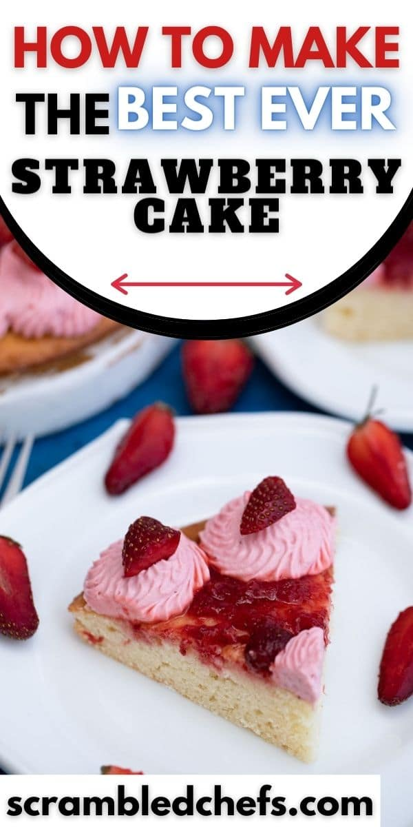 Sliced strawberry cake on plate