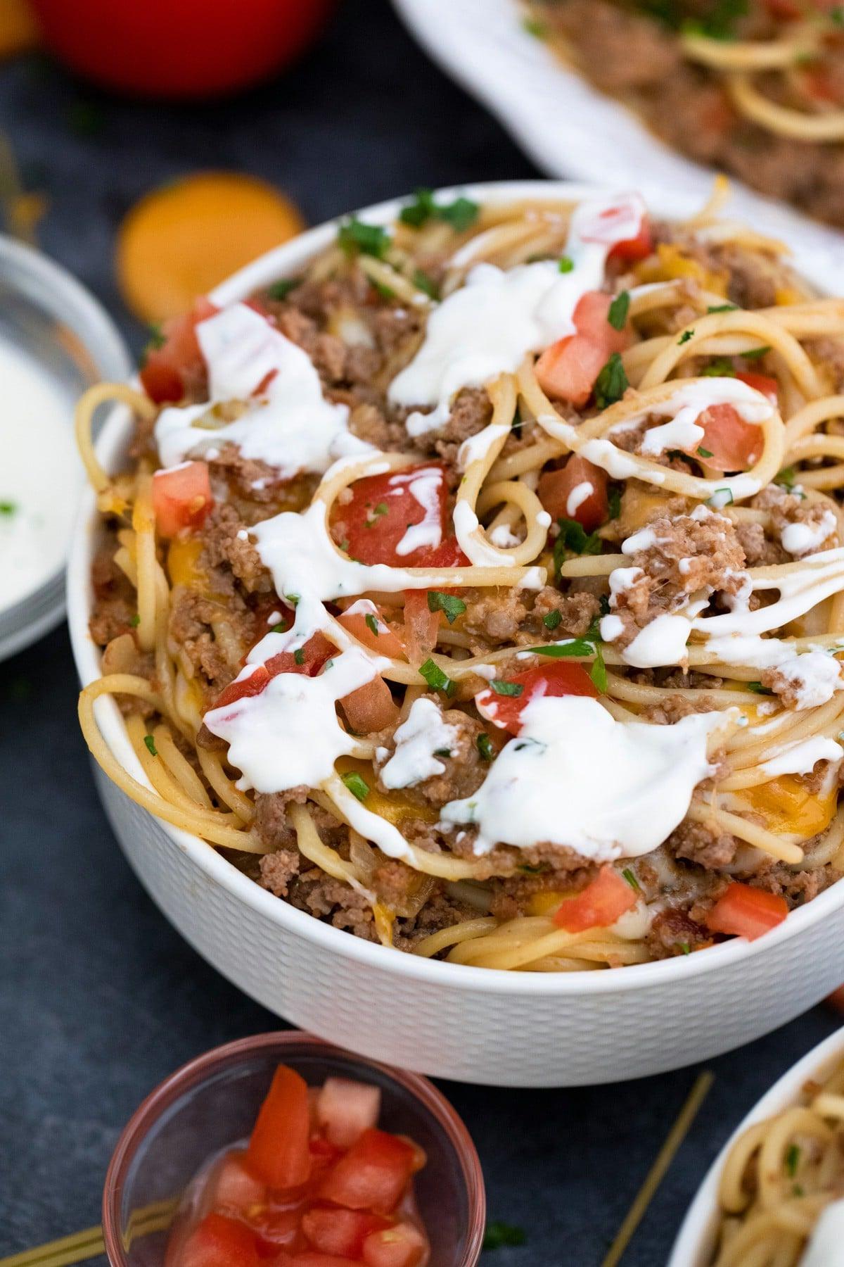 Taco spaghetti with sour cream