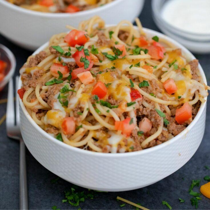 White bowl of taco spaghetti