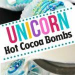 Unicorn hot cocoa bombs collage