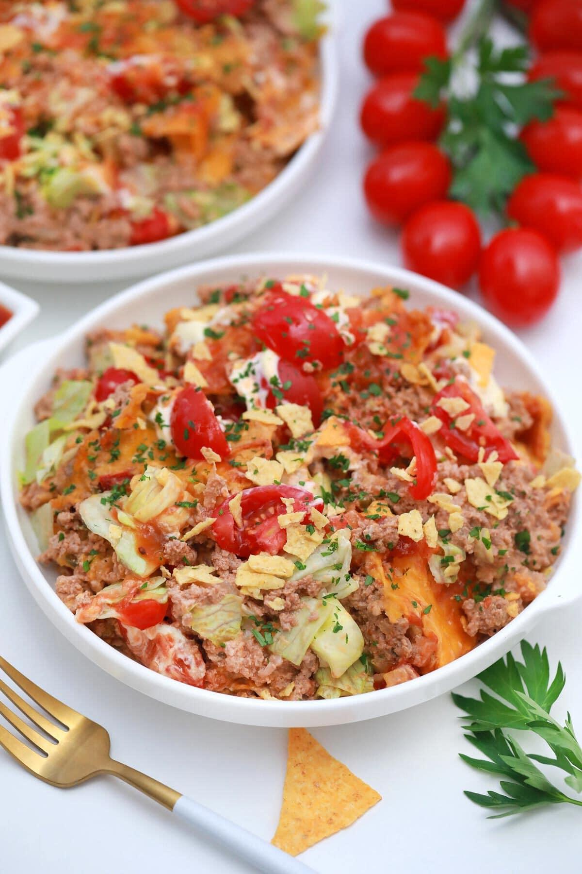 Walking taco casserole in bowl