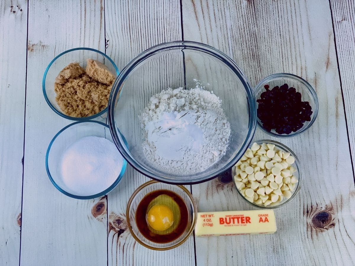 Ingredients for white chocolate cranberry cookie