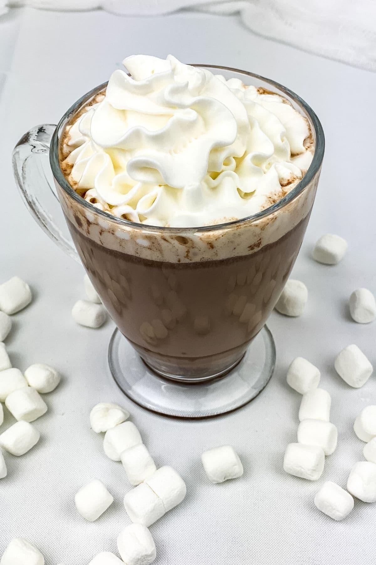 Glass mug of hot cocoa