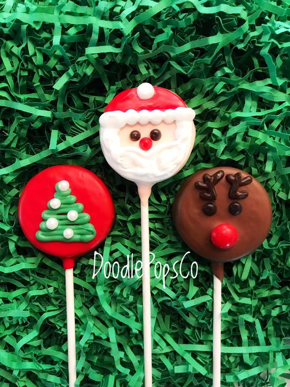 Hoilday Oreo cookie pops / Christmas party favor / chocolate | Etsy