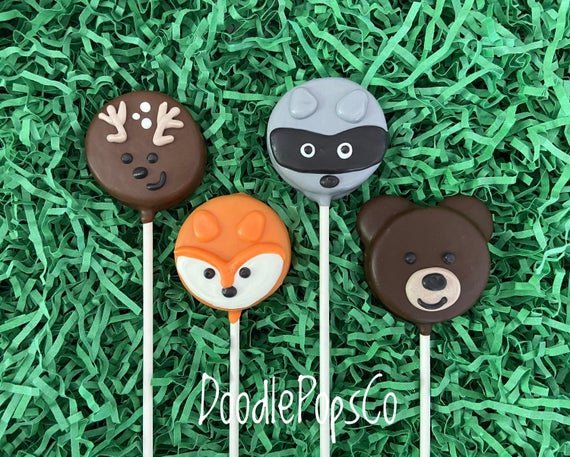 Woodland animals Oreo cookie pops / Forest animals party favor | Etsy