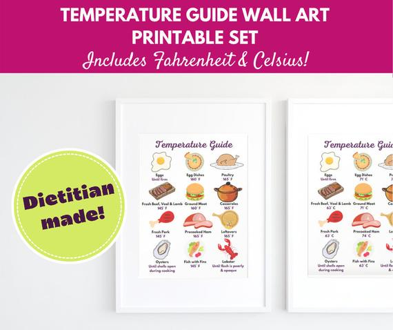 Temperature Chart Download Food Art Foodie Gifts Kitchen | Etsy
