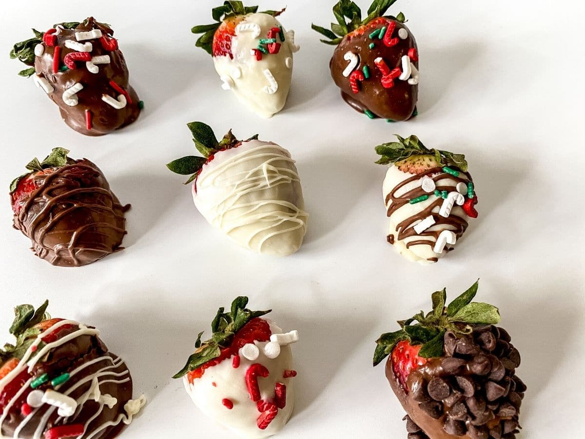 Dipped strawberries on plate