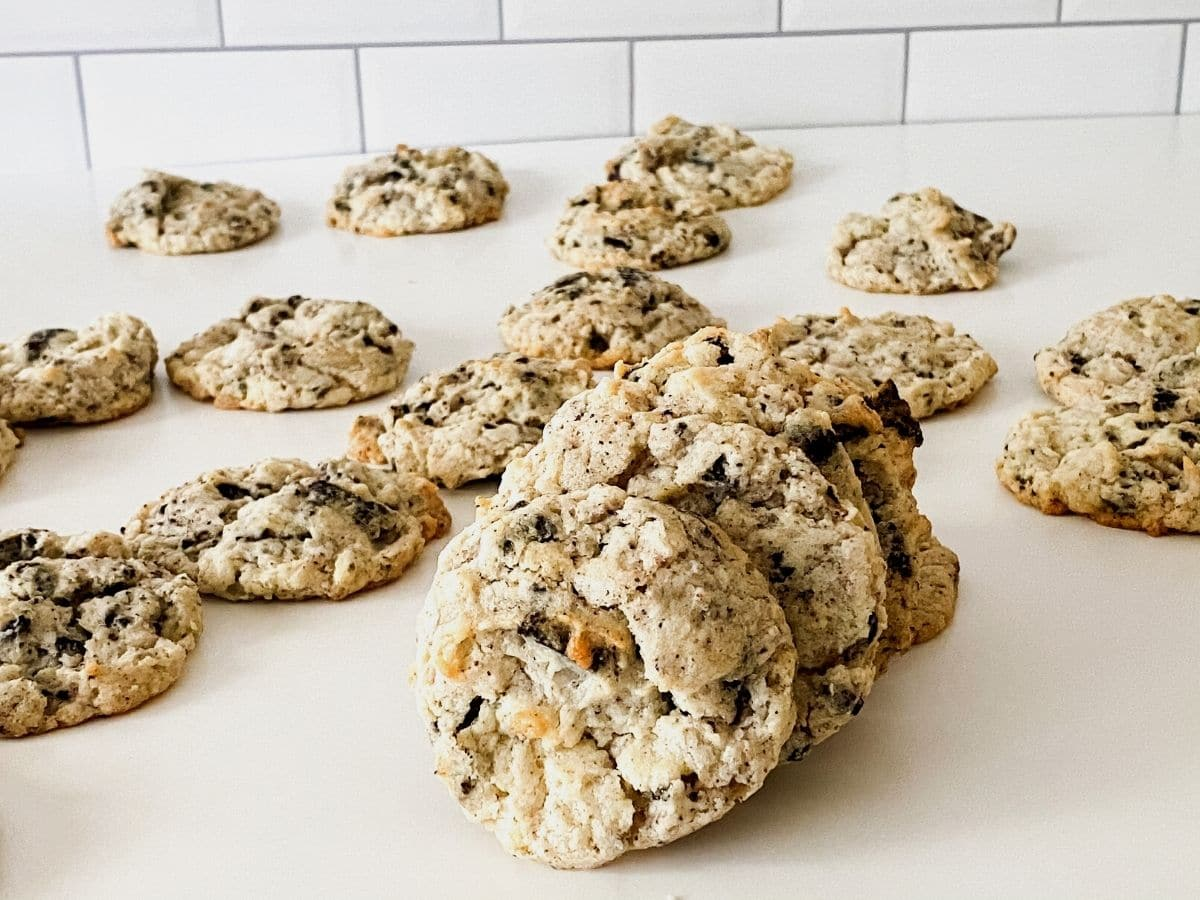 Cookies and cream cookies on table