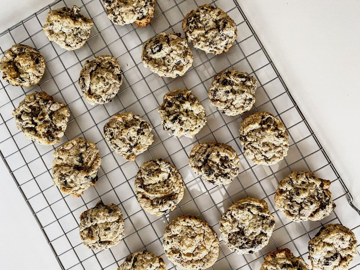 Cookies and cream cookies on wire rack