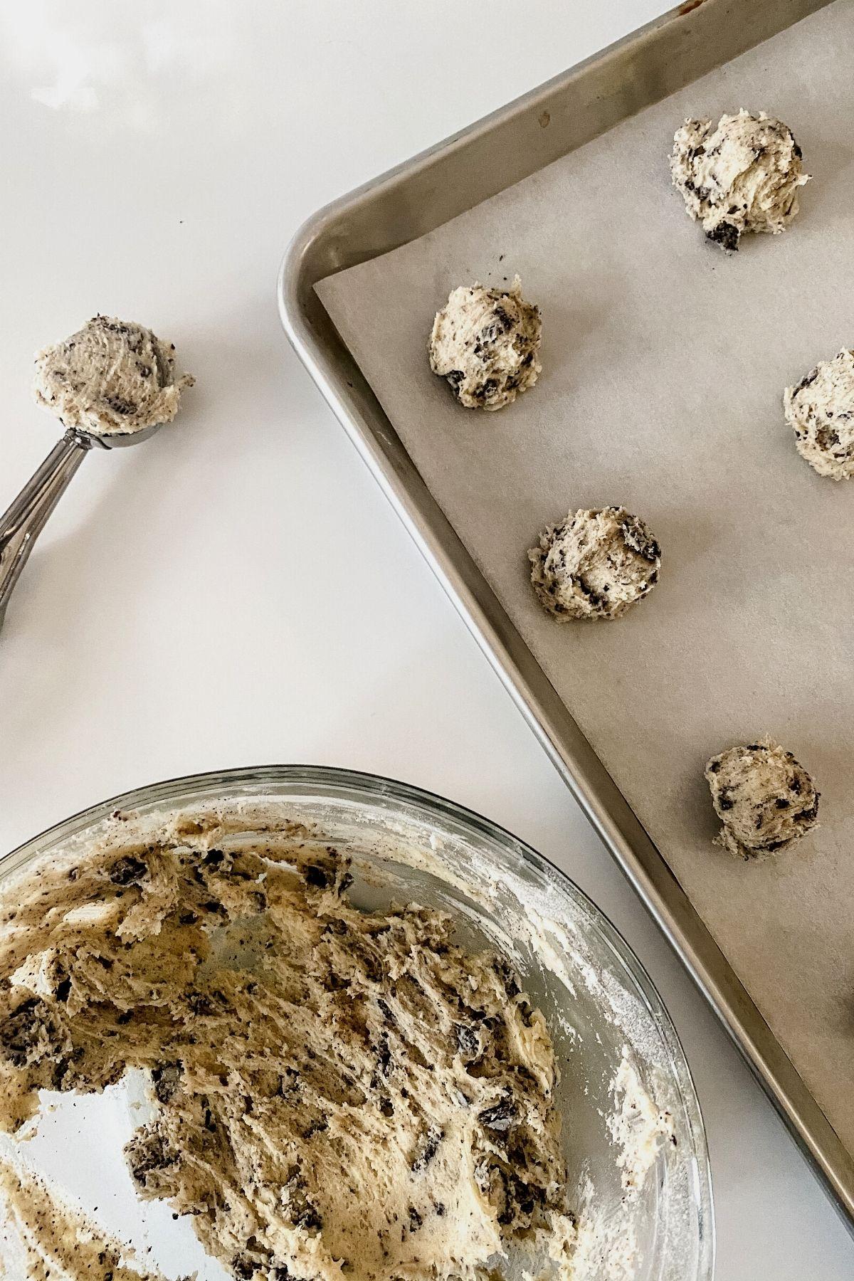 Cookie scoop full of cookie dough