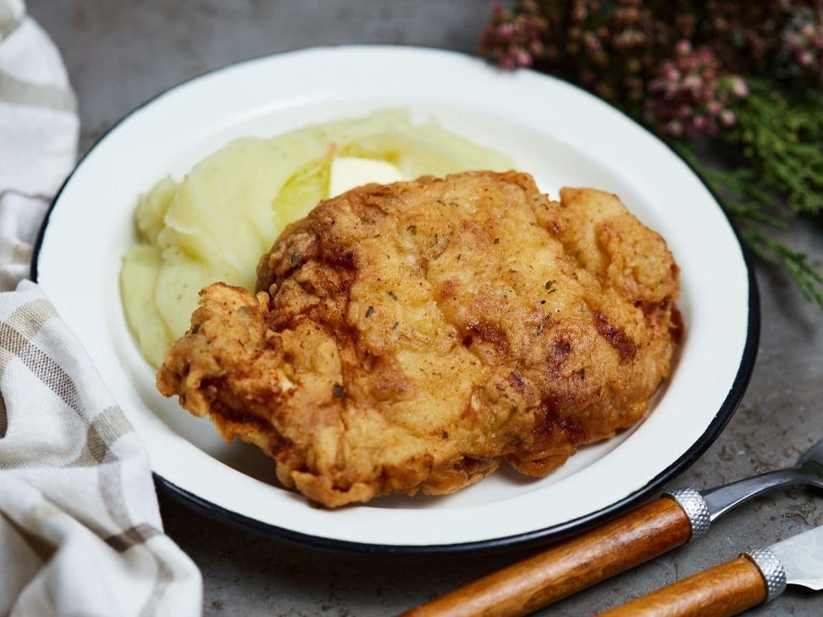 Chicken fried chicken on plate