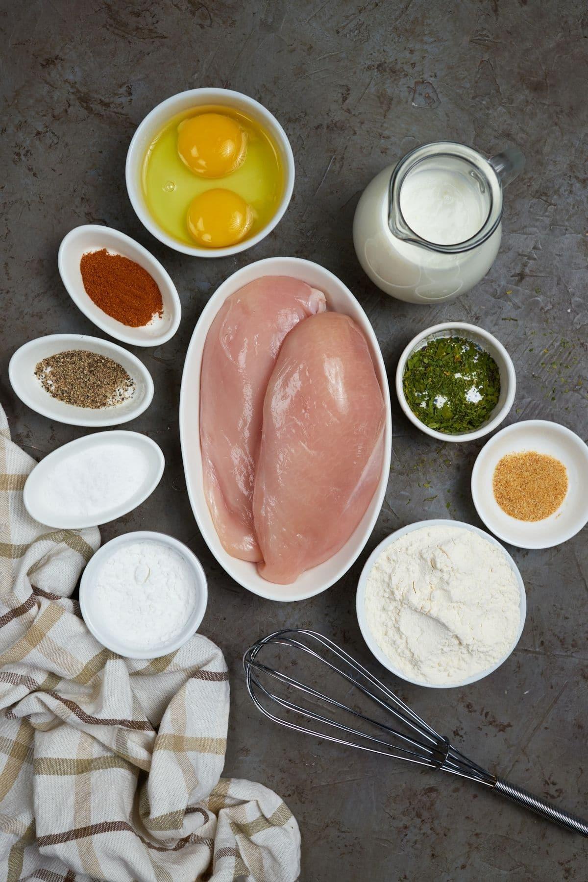 Ingredients for chicken fried chicken