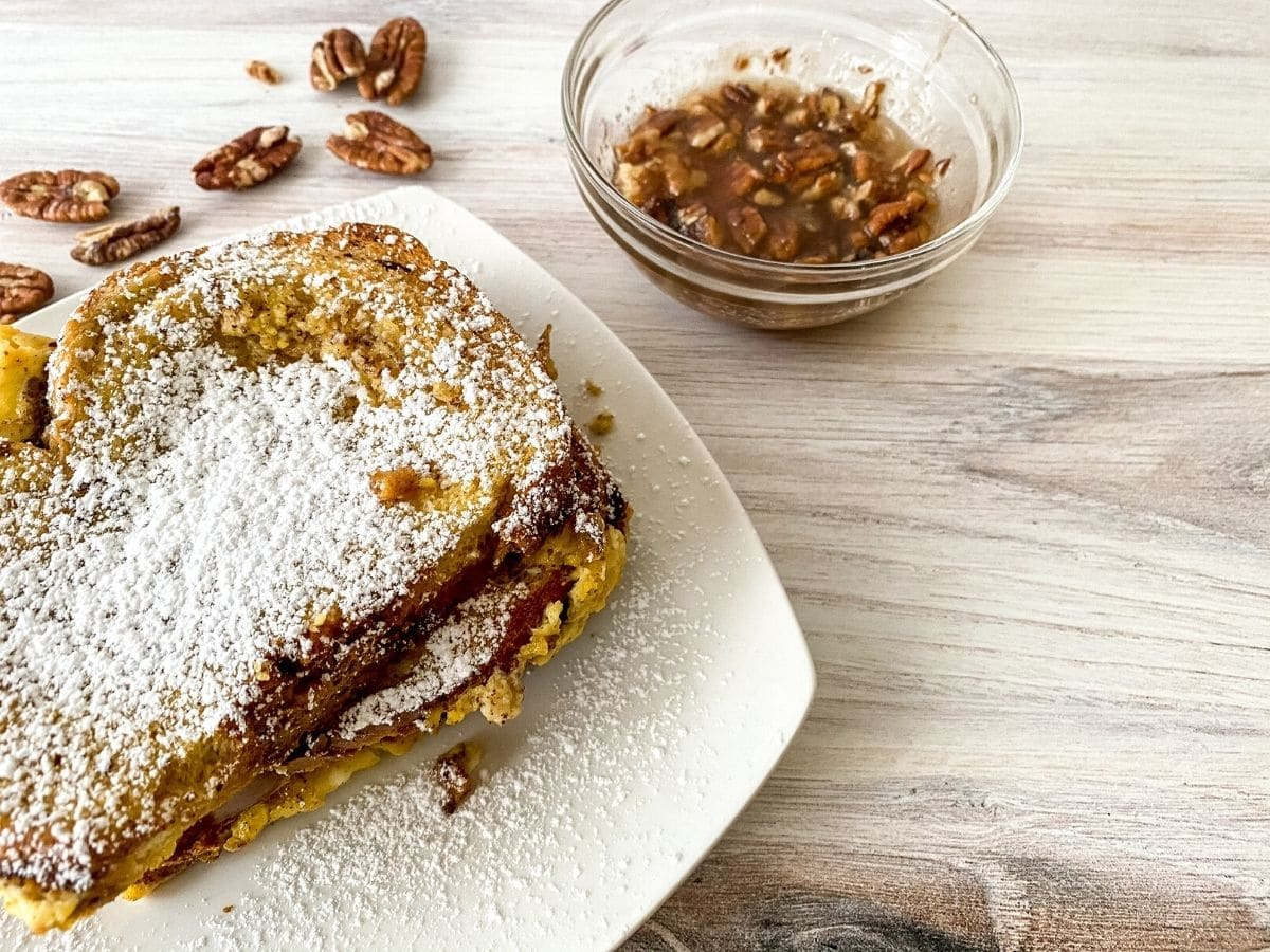 Eggnog French toast on white plate
