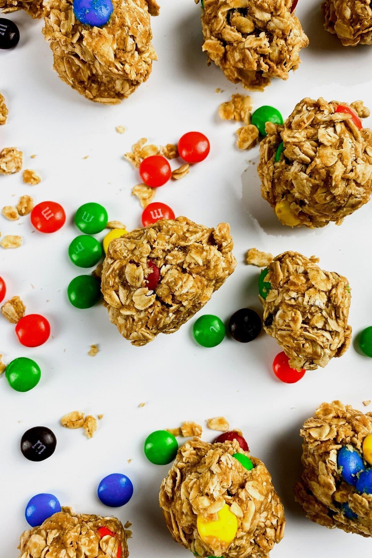 Peanut butter energy balls on white table