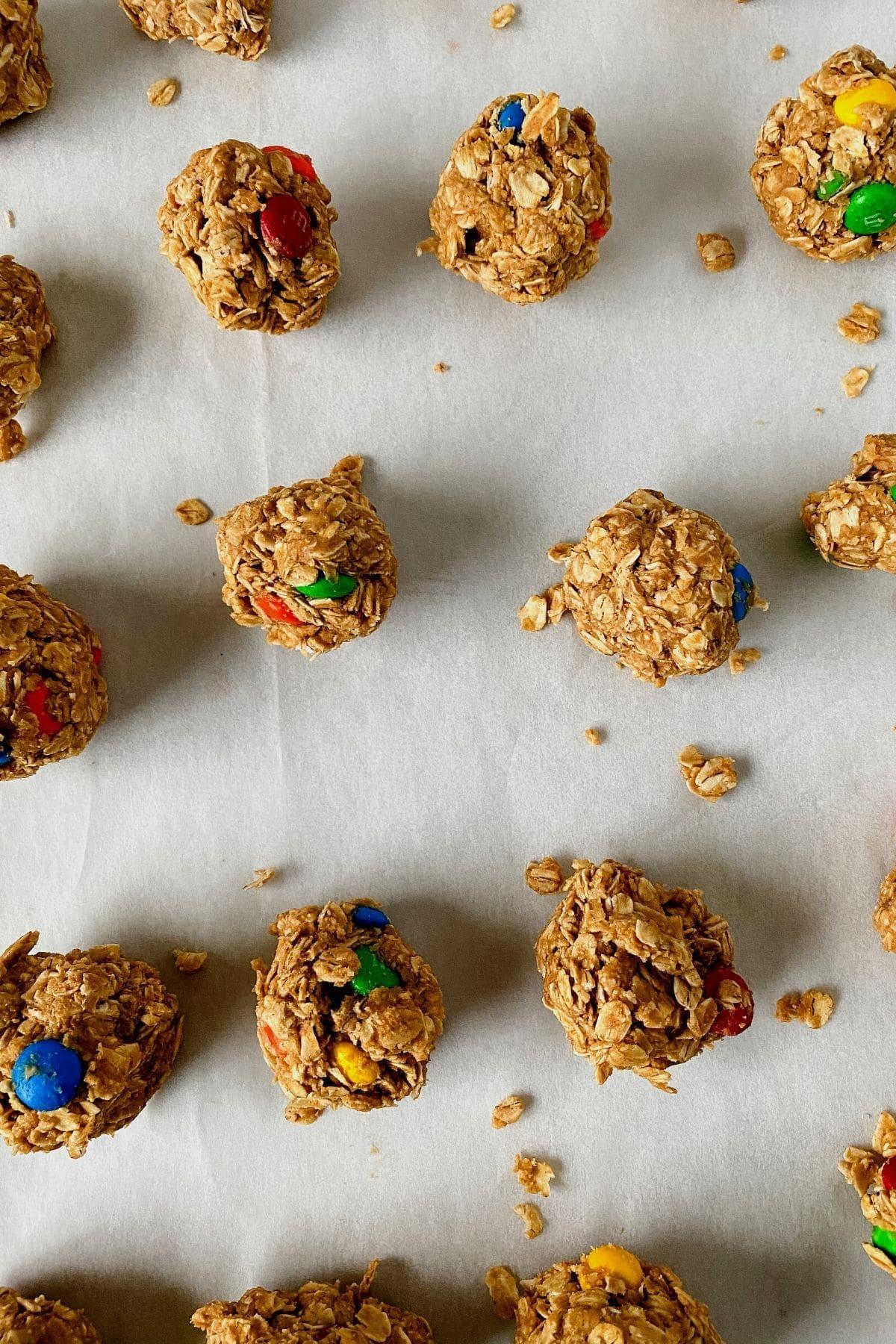 Peanut butter energy balls on baking sheet