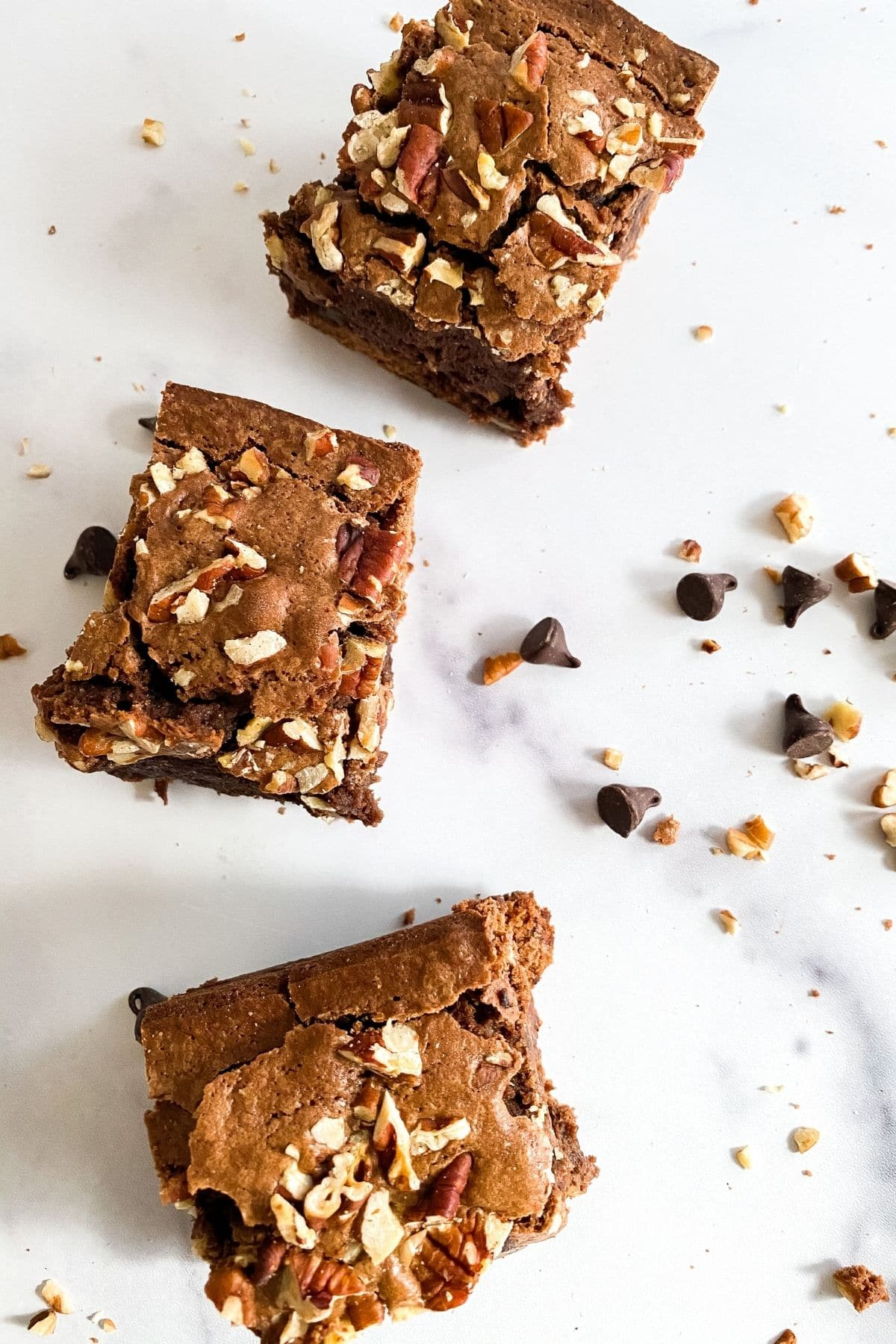 Brownies on table
