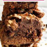 Stack of fudge brownies