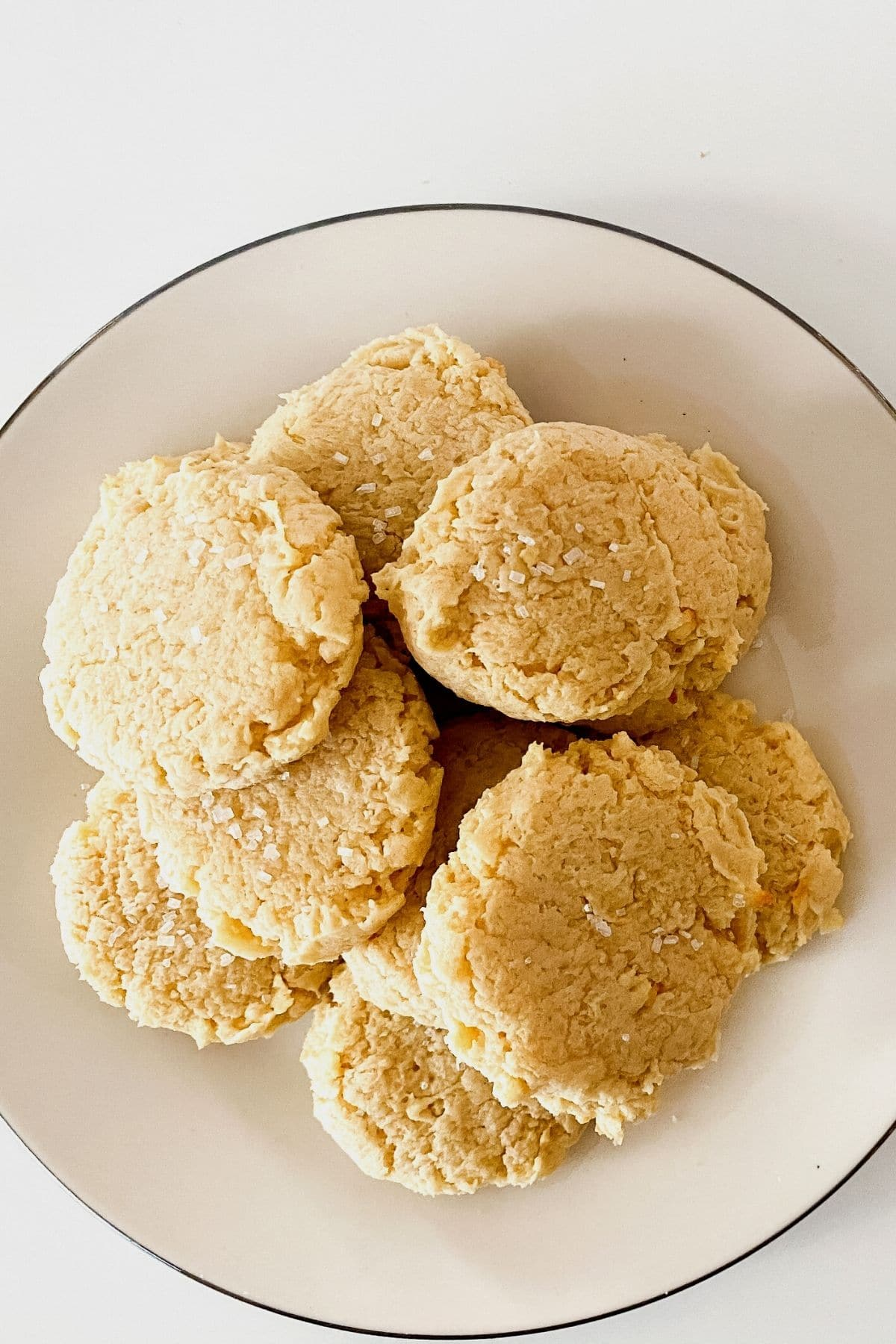 Cream cheese cookies on white plate
