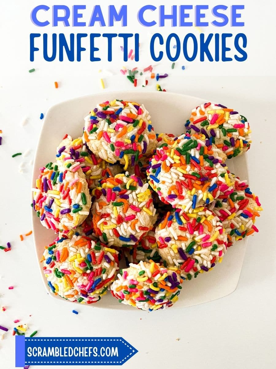 Cream cheese cookies with sprinkles on plate