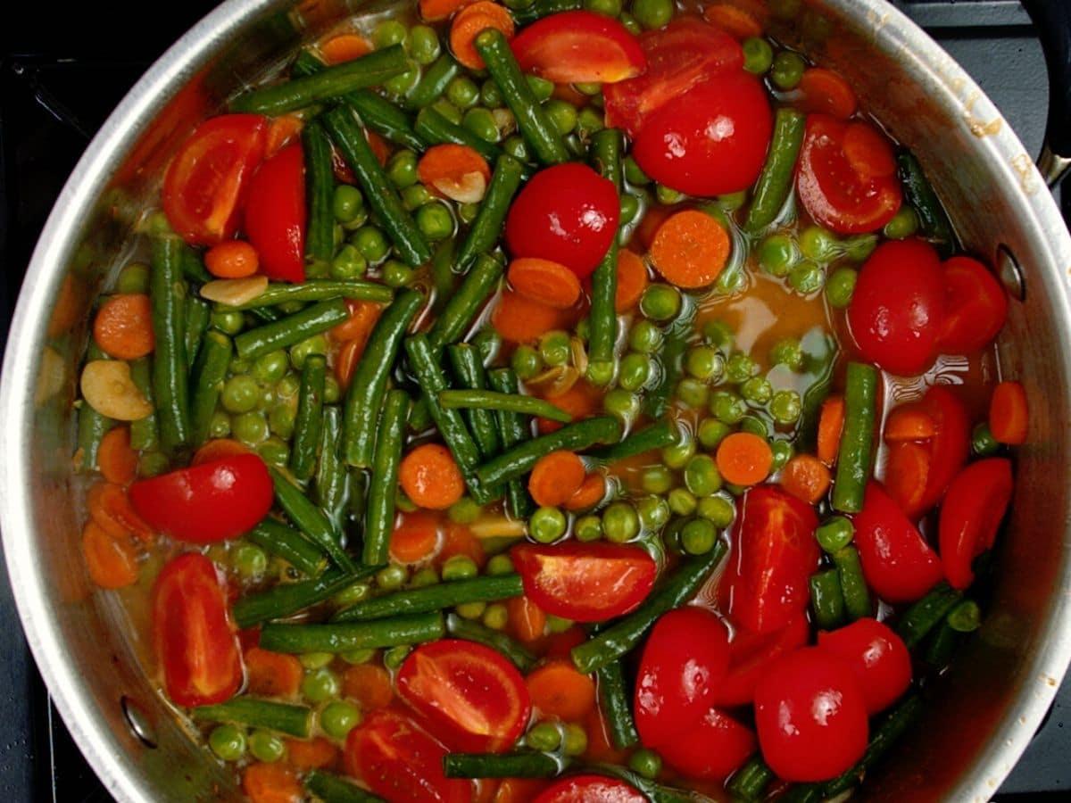 Vegetables in skillet