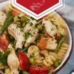 Bowl of chicken pasta primavera