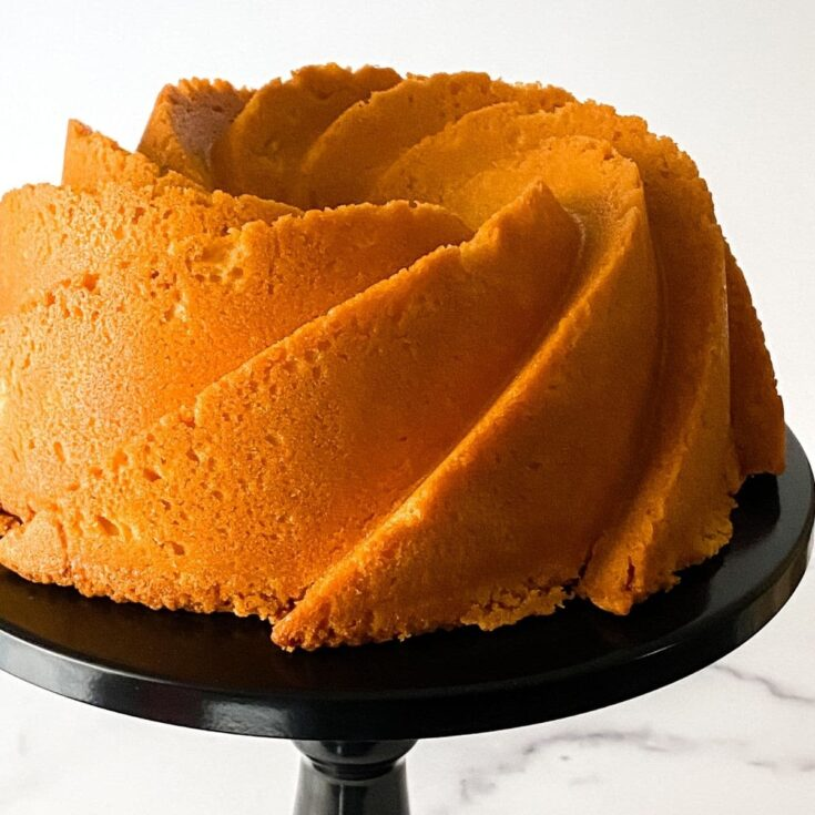 Old fashioned pound cake on cake stand