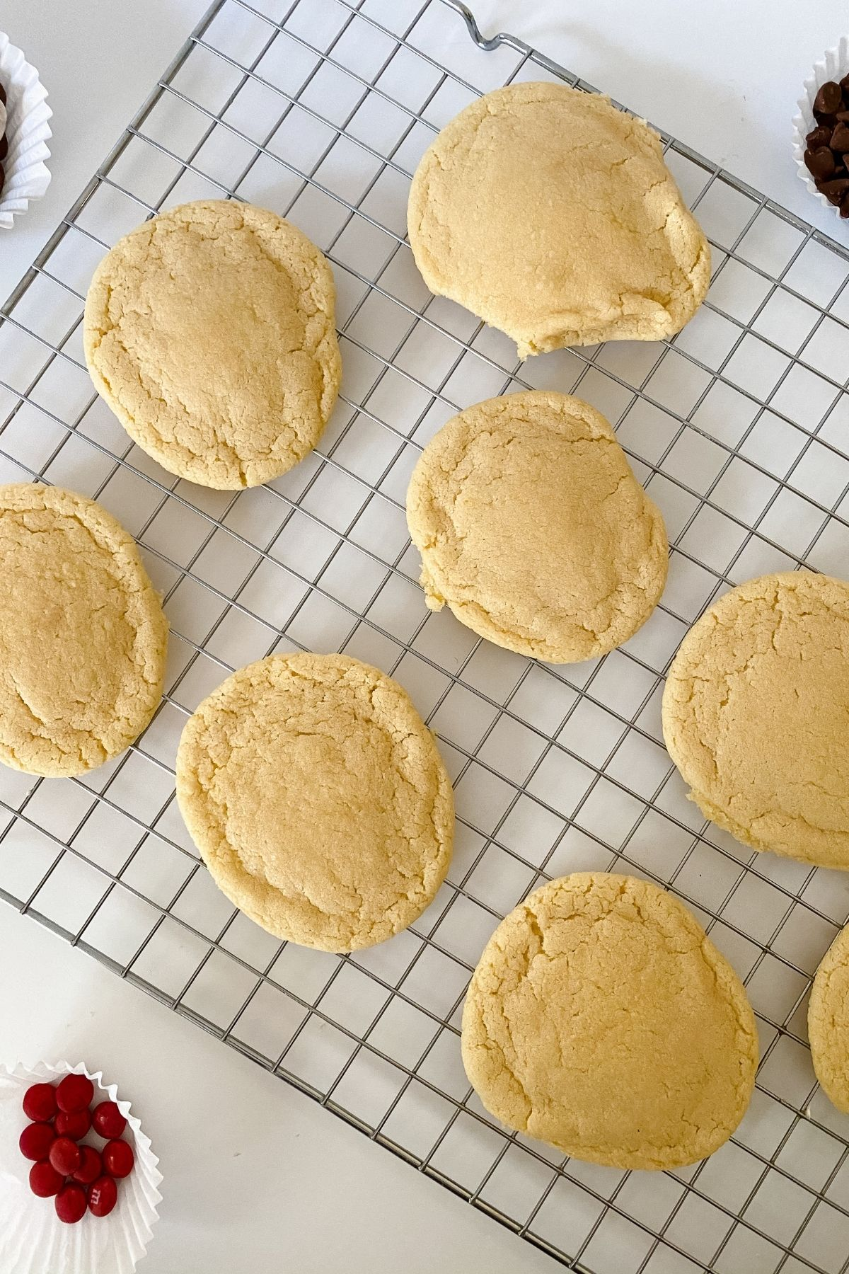 Undecorated cookies on wire rack
